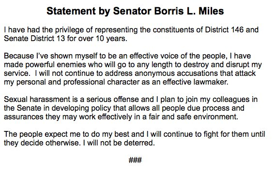 """""""I will not be deterred"""" —@BorrisLMiles, showing no sign of resigning #txlege #tx2018"""