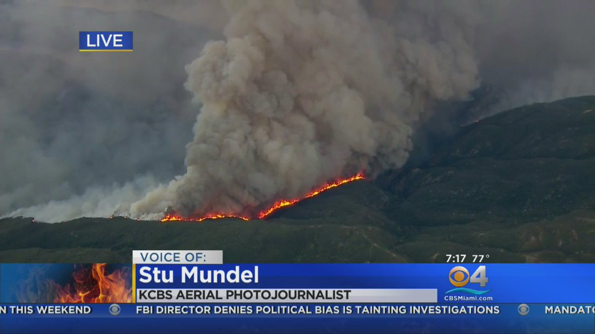 JUST INCREDIBLE: #KCBS aerial photojournalist @Stu_Mundel shared a live update on the #CaliforniaWildfires from his chopper. Watch --> https://t.co/CF9meB5iCf