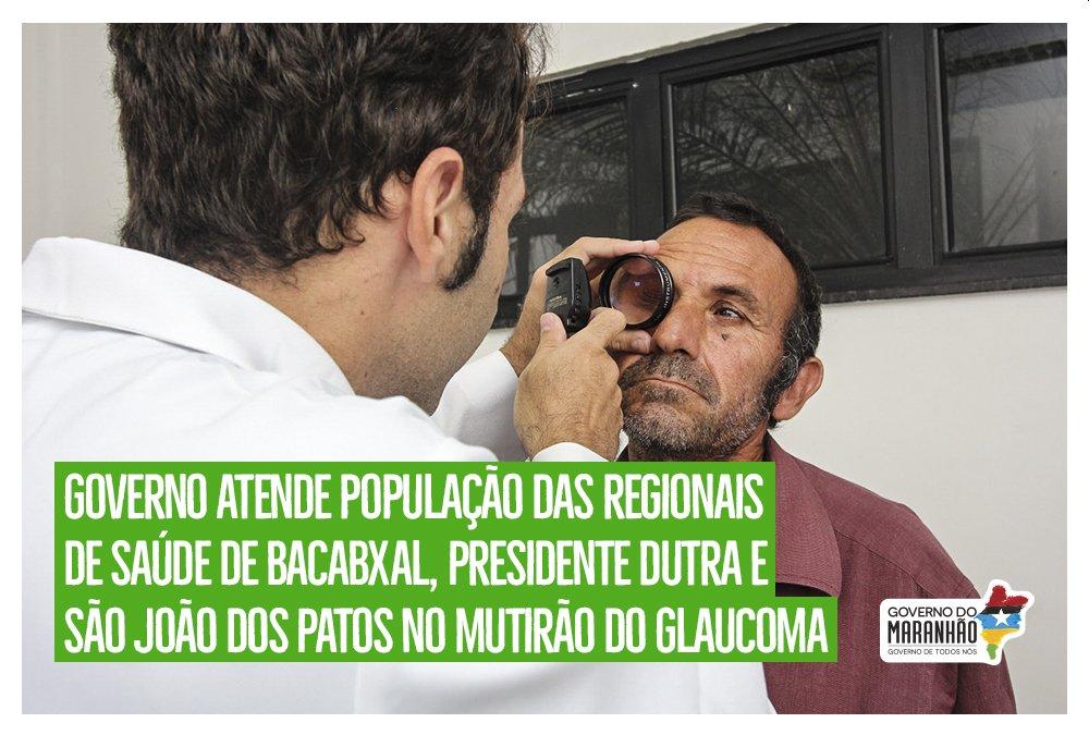 Com o Mutirão do Glaucoma será realizado atendimento nas regionais de saúde de Bacabal, Presidente Dutra e São João dos Patos, entre os dias 8 e 10 deste mês, beneficiando 16 municípios. https://t.co/d6TWpPCysH  #GovernoDeTodosNós