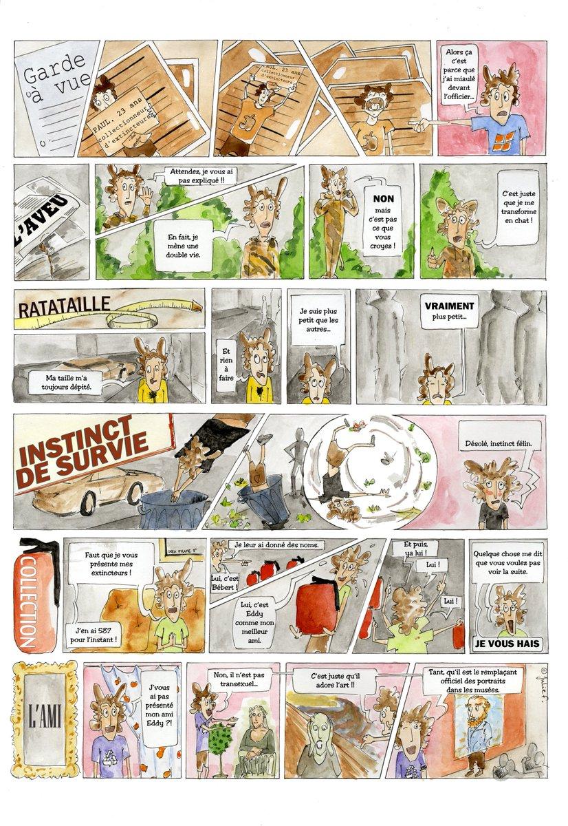 #JeudiConfession En 2010, j'avais écrit et dessiné mes propres strips, sur Paul, un collectionneur d'extincteurs qui se déguise en chat. pic.twitter.com/mUoZ06c3qb