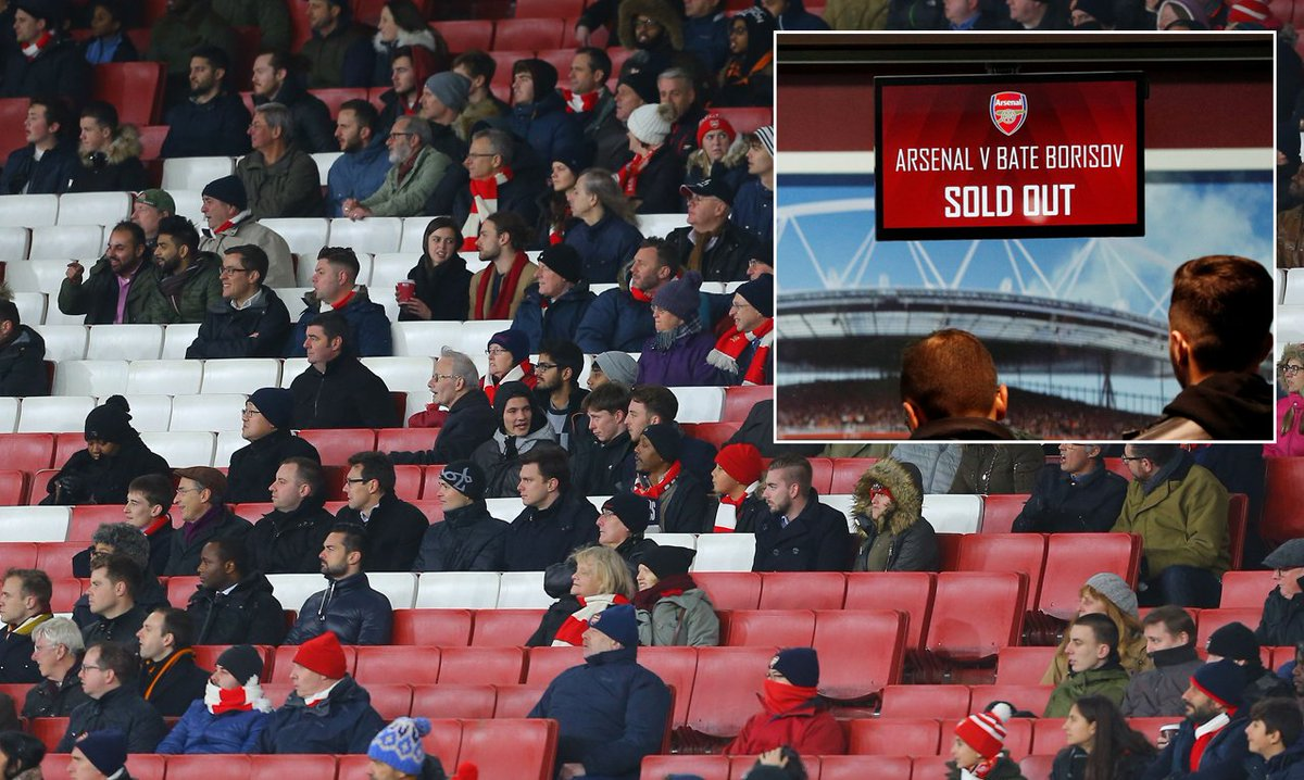 Arsenal look set to record lowest-ever crowd at the Emirates Stadium despite club claiming Europa League tie against BATE Borisov is a sell-out https://t.co/xW5Y4QrehS