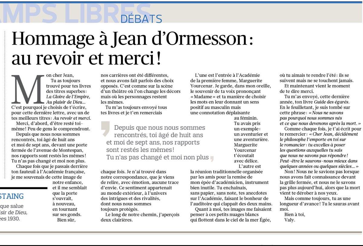 [A LIRE] Le Président Valéry Giscard d'Estaing écrit un magnifique texte à son ami #JeanDOrmessson. Ils se connurent dès l'enfance, se retrouvèrent sous la Coupole. #VGE signe son texte d.un affectueux #Valy