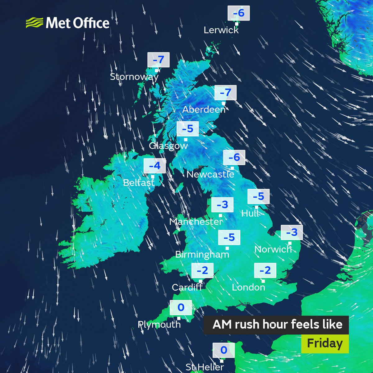 Whilst the strongest winds fro #StormCarolinem  have passed, it will still be windy for the morning rush hour. With cold arctic air and strong winds it's going to feel ve #coldry  out