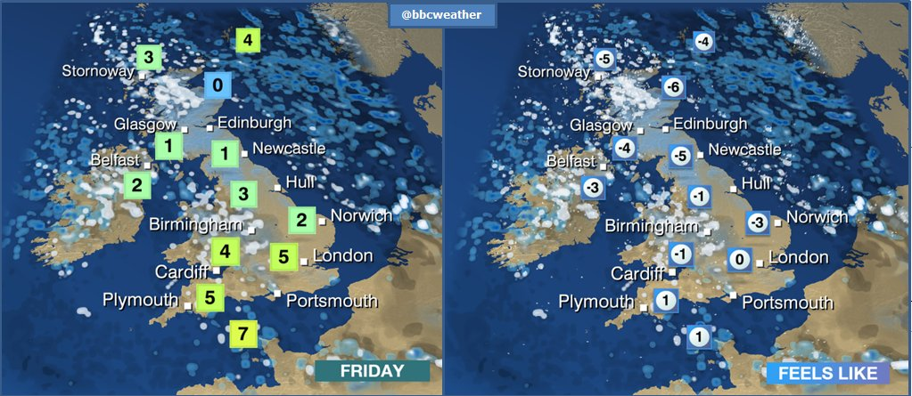 Bitterly #cold tomorrow. Temperatures won't be far off freezing, but it will feel like it's closer to -6C in some places. Jo