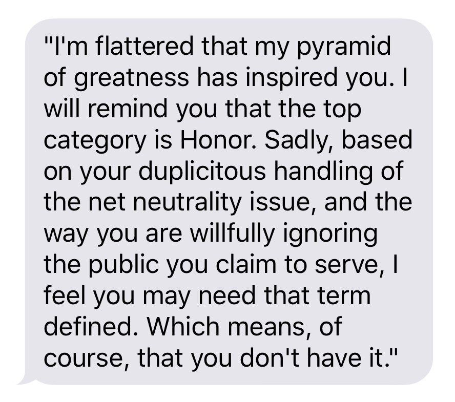 Dear @AjitPaiFCC , I noticed your Pyramid of Greatness and thought it felt strange in your office, given your stance. So I went to see Ron Swanson to ask if he'd care to weigh in & he dictated the below to me 🇺🇸