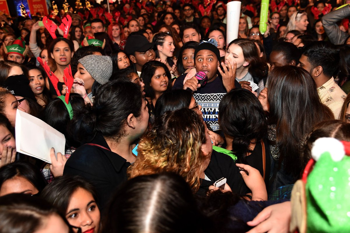 #TBT That time when the crowd almost swallowed up @MaxwellsHouse at our #Z100JingleBall All Access Lounge!!  We think it was the @ShawnMendes Christmas sweater & beanie combo!!! Hahahaha