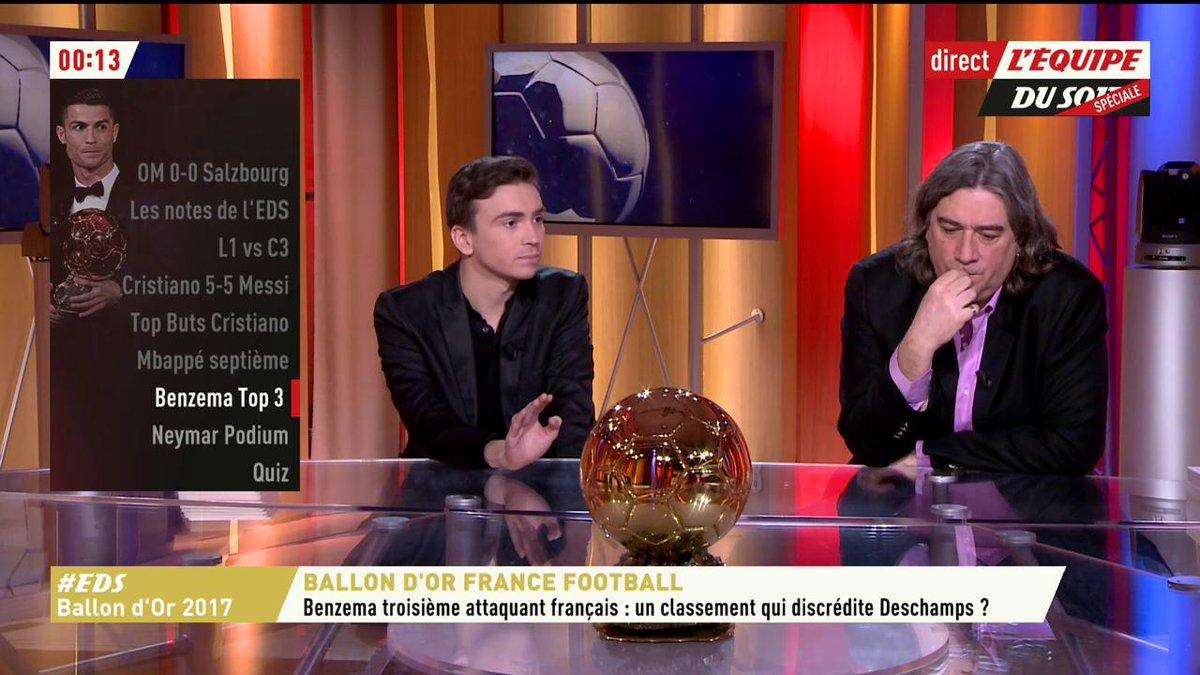 .@LatourBertrand sur le classement de Karim @Benzema : '25e, j'ai pas compris ! C'est le mal aimé du foot planétaire. Il gagne la C1, la Liga et réalise un exploit rare face à l'Atletico, fait basculer le match en demi-finale.' ⚡️😱🔥   #EDS #BallonDor2017