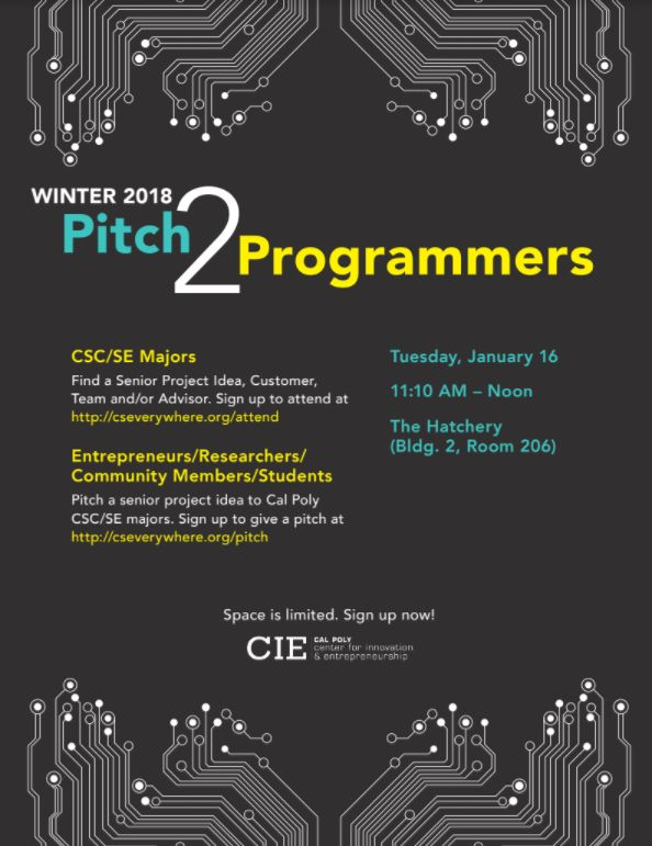 Cal Poly Cie On Twitter Find A Senior Project Idea Or Pitch A Senior Project Idea To A Cal Poly Computer Science Or Software Engineering Student Calpoly Https T Co Oyyz2ozh3p