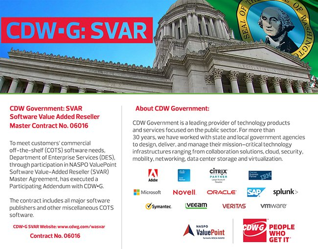 Working with #WA #State &amp; #Local #Gov offices focusing on #technology #solutions   #NASPO #SVAR #Software #Adobe #Microsoft #MS #O365 #Citrix #VMWare #Splunk #Oracle #HPE #Veeam #SmartCity #IoT #SLG #BigData #Mobility #Cloud<br>http://pic.twitter.com/z2YFQzQFm4