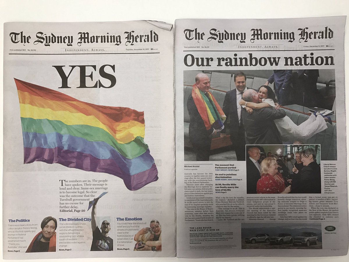 RT @kp_karenprice: Happy headlines! @AMEquality  #auspolِ #MarriageEquality #yes https://t.co/dxQtOxloaB