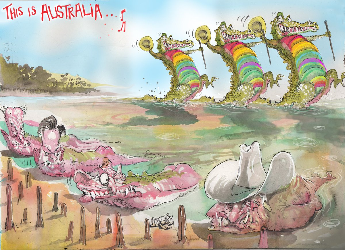 Here is @roweafr take on #SSM2017 and Queensland's crocodile problem. For more cartoons: https://t.co/6QuYDIQPex