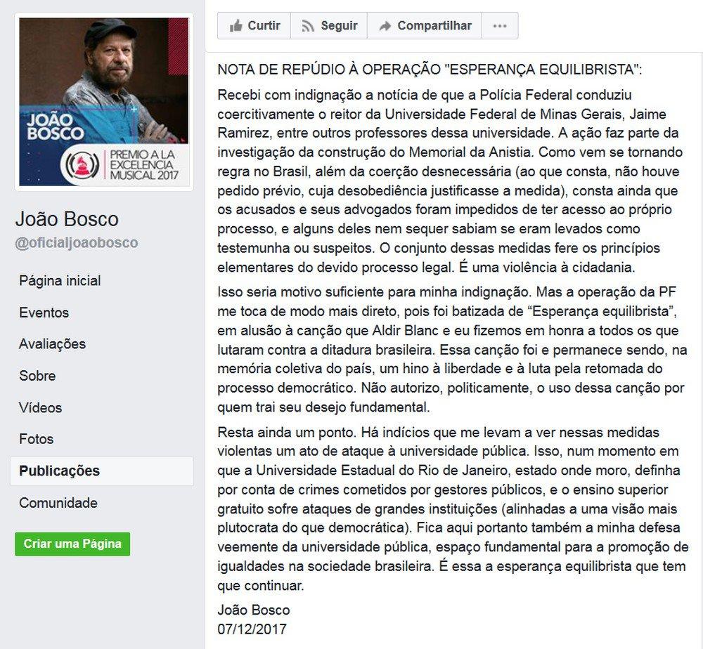 Compositor João Bosco repudia nome de operação da PF que faz alusão a sua música https://t.co/2pyCUfBwBJ #G1