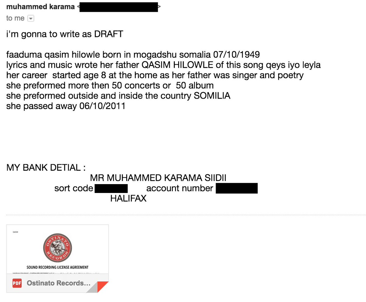 e229a783 9/ Here is the email correspondence with Mohamed Karama, son of Faadumo  Qaasim, providing me with his bank details to make a payment and returning  a signed ...