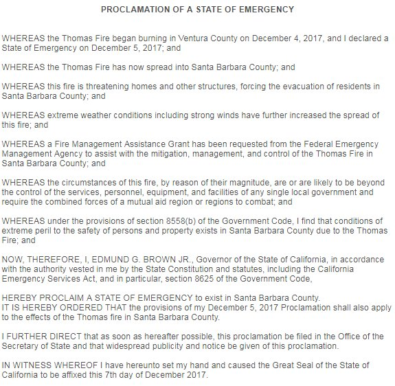 NEW: California Governor Jerry Brown declares a state of emergency in Santa Barbara County due to #ThomasFire