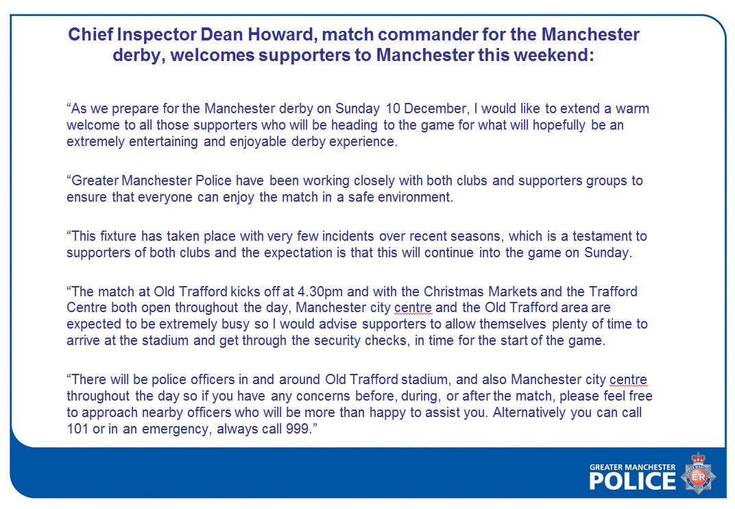 Chief Inspector Dean Howard, match commander for the Manchester derby, welcomes supporters to Manchester this weekend