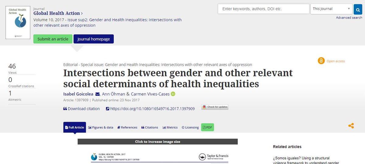 Confess, I haven't dug into this yet; but looks like great set of papers on #gender &amp; #intersectionality in health inequalities in @GlobalHealthAct  http:// bit.ly/2AXs7dR  &nbsp;  <br>http://pic.twitter.com/63in5BDvV3