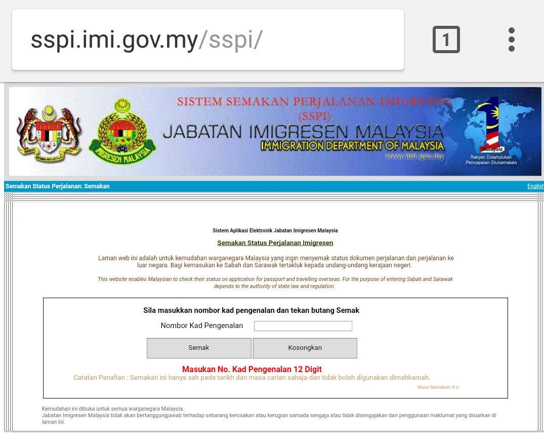 Imigresen Malaysia On Twitter Orang Ramai Dinasihatkan Membuat Semakan Status Perjalanan Senarai Hitam Sebelum Merancang Keluar Negara Atau Membuat Permohonan Pasport Semakan Boleh Dibuat Melalui Https T Co H4qggmch11 Imigresen Najibrazak