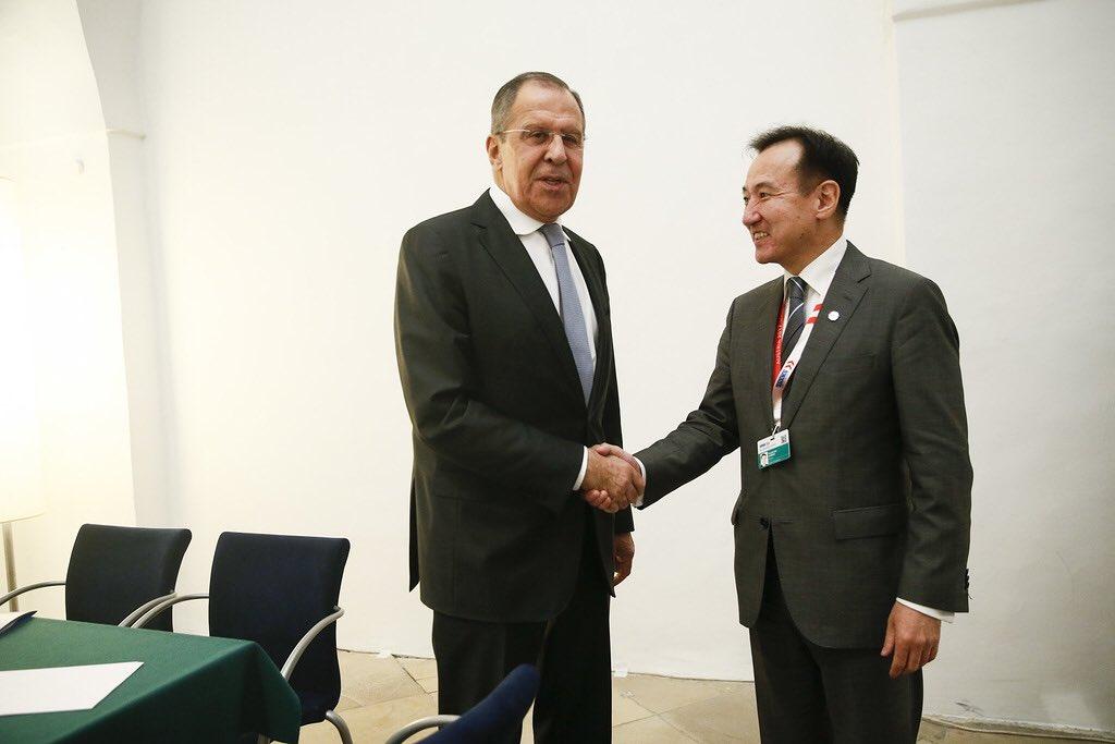 Sergey Lavrov and his Mongolian colleagu...