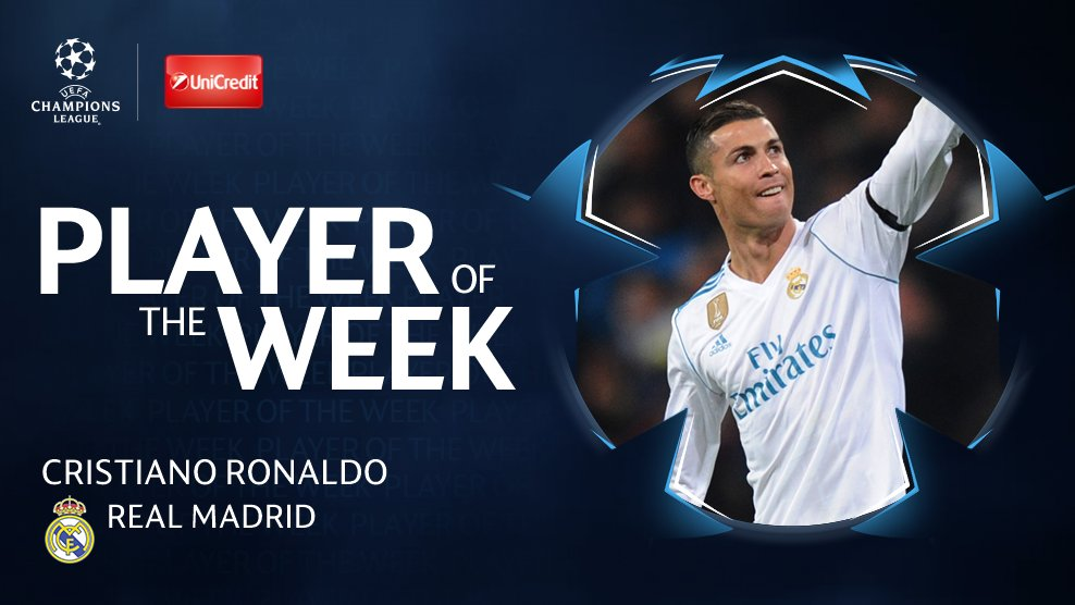 ⚽️ v Dortmund ⏺️ Matchday goal record 🏆 #BallondOr   🥇 Now voted your #UCL Player of the Week (41%) 👏