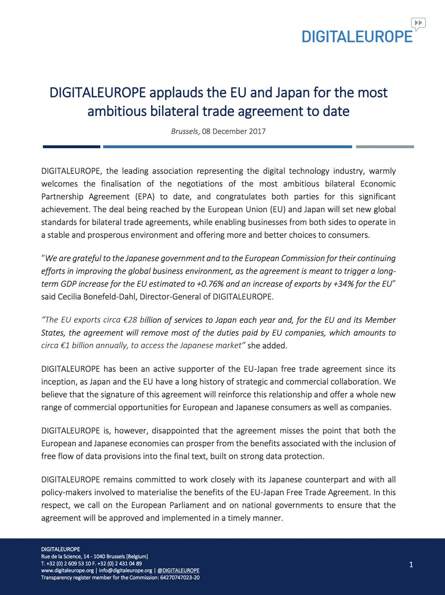 Digitaleurope On Twitter Digitaleurope Applauds The Eu And Japan