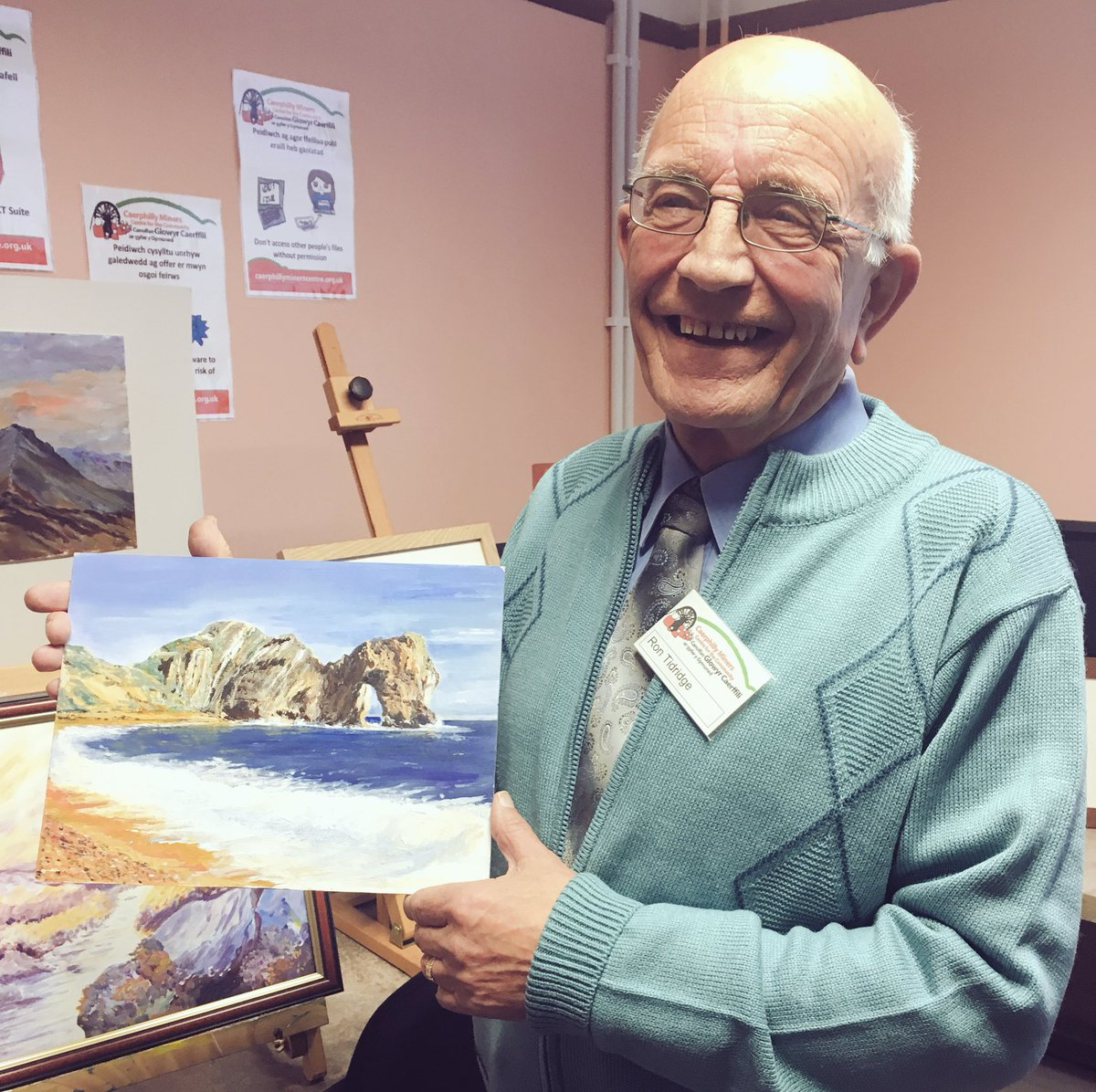 """With the art club at Caerphilly Miners Centre, HRH admired a seascape watercolour.  """"That is genius! Fantastic! Brilliantly observed and the sea is a great colour. Waves are so difficult to do."""""""
