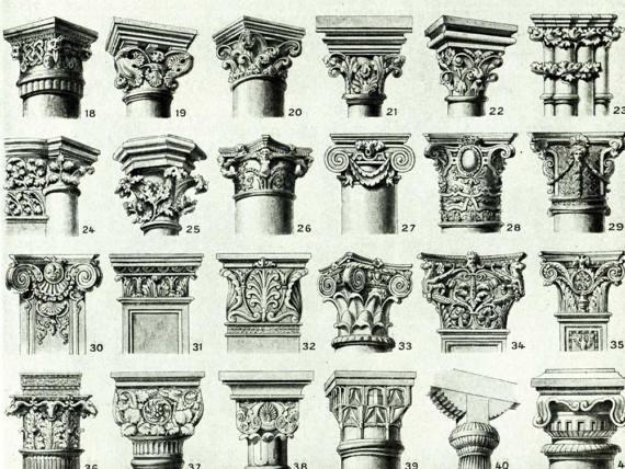 1933 Antique Chapiter Forms Print Capital Column Pilaster Architectural Doric Corinthian Ionic Composite Gothic
