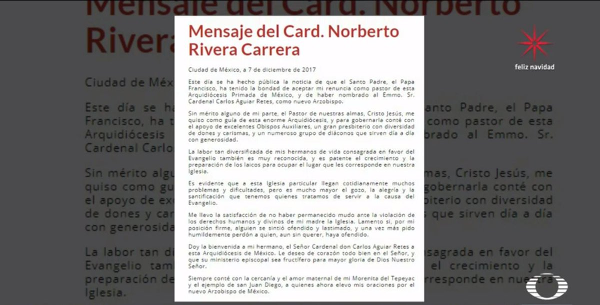 Mediante Una Carta Norberto Rivera Carrera Dio Al Bienvenida A