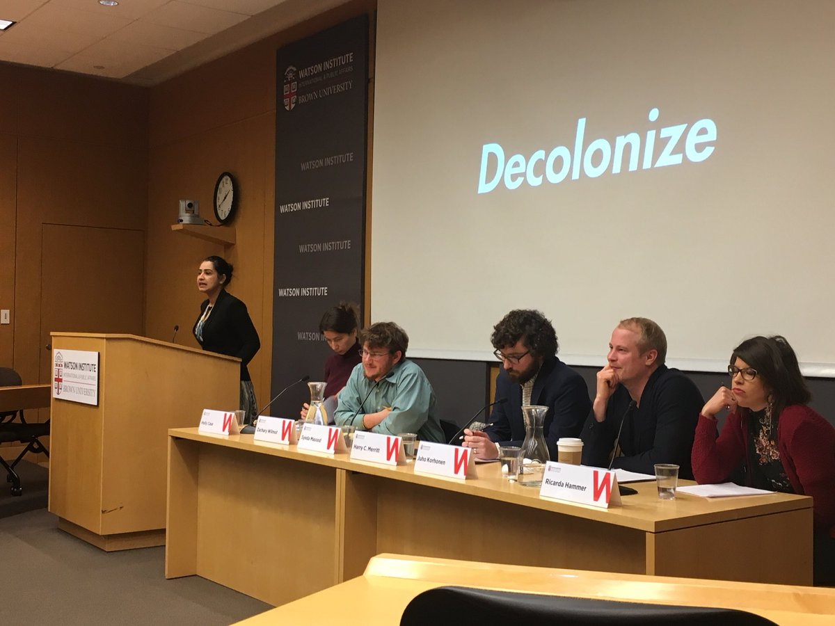 Strong message wrapping up presentation by @BrownSociology 's Syeda Masood at @WatsonInstitute Legacies and Constellations of Empire and Revolution event #decolonize @Prof_Kennedy<br>http://pic.twitter.com/RMboJBJNaX