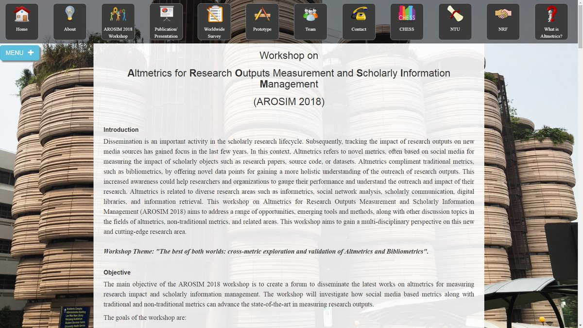Workshop on #Altmetrics for Research Outputs Measurement and Scholarly Information Management @NTUsg, 26th January, #AROSIM 2018 See its list of Accepted Papers &amp; Posters  http://www. altmetrics.ntuchess.com/AROSIM2018/#Ac cepted_Papers &nbsp; … <br>http://pic.twitter.com/sEWEoqAbmk