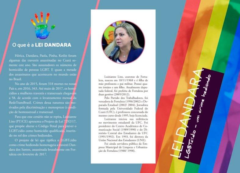 A dep @Luizianne13PT tb é autora de outro projeto q, se aprovado, será a Lei Dandara, q tornará LGBTcídio crime hediondo. Mulher porreta, essa Luizianne! https://t.co/ditR1qT6VQ