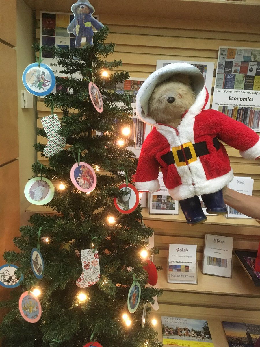 kings worcester library on twitter paddington and mr rowberry adding the final touches to our library christmas decorations - Library Christmas Decorations
