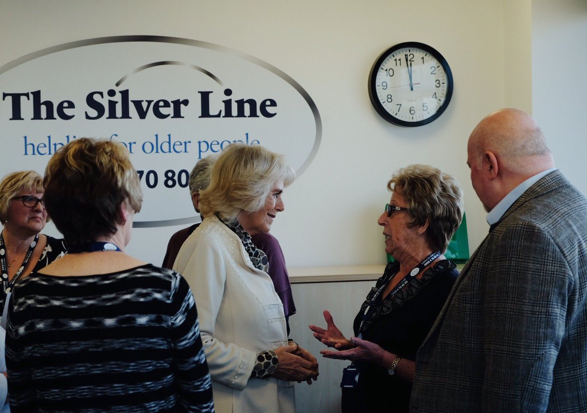 The Duchess of Cornwall became Patron of @TheSilverLineUK earlier this year.   Today HRH visited the charity for the first time to meet staff and volunteers.