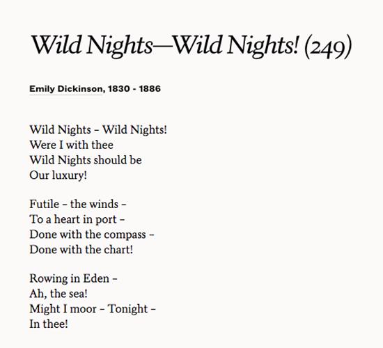 wild nights wild nights
