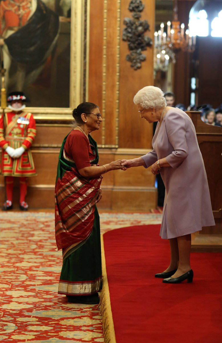 For 40 years Vilasgauri Dhanani has provided inspirational leadership to thousands of elderly immigrant women in London. Today she received an #MBE for voluntary and charitable services.