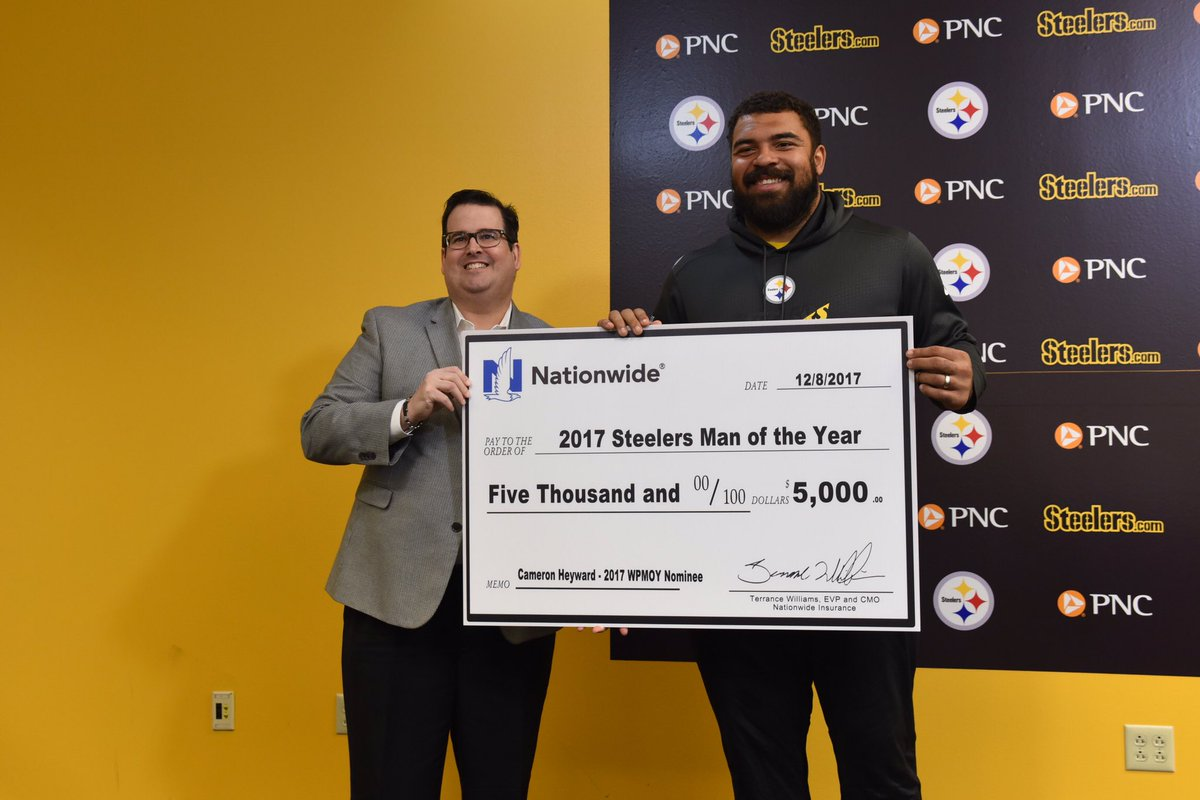 6ae2a88a437 Cameron Heyward was presented a check as a donation to The Heyward House  Foundation for being named our nominee for the Walter Payton NFL Man of the  Year.