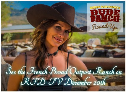 In 12 days The French Broad Outpost Ranch is going to be featured on #RFD new Flagship series Debbe Dunnings Dude Ranch Round Up! Please tune in to see that a Real Dude Ranch can be east of the Mississippi! <br>http://pic.twitter.com/GVxZ3UMqpg