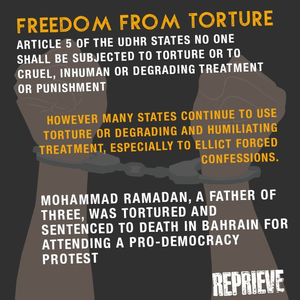 On #HumanRightsDay, we're showing how the people we support often have their rights abused, and why we should all #StandUp4HumanRights. Mohammed Ramadan has the right to be free from torture.