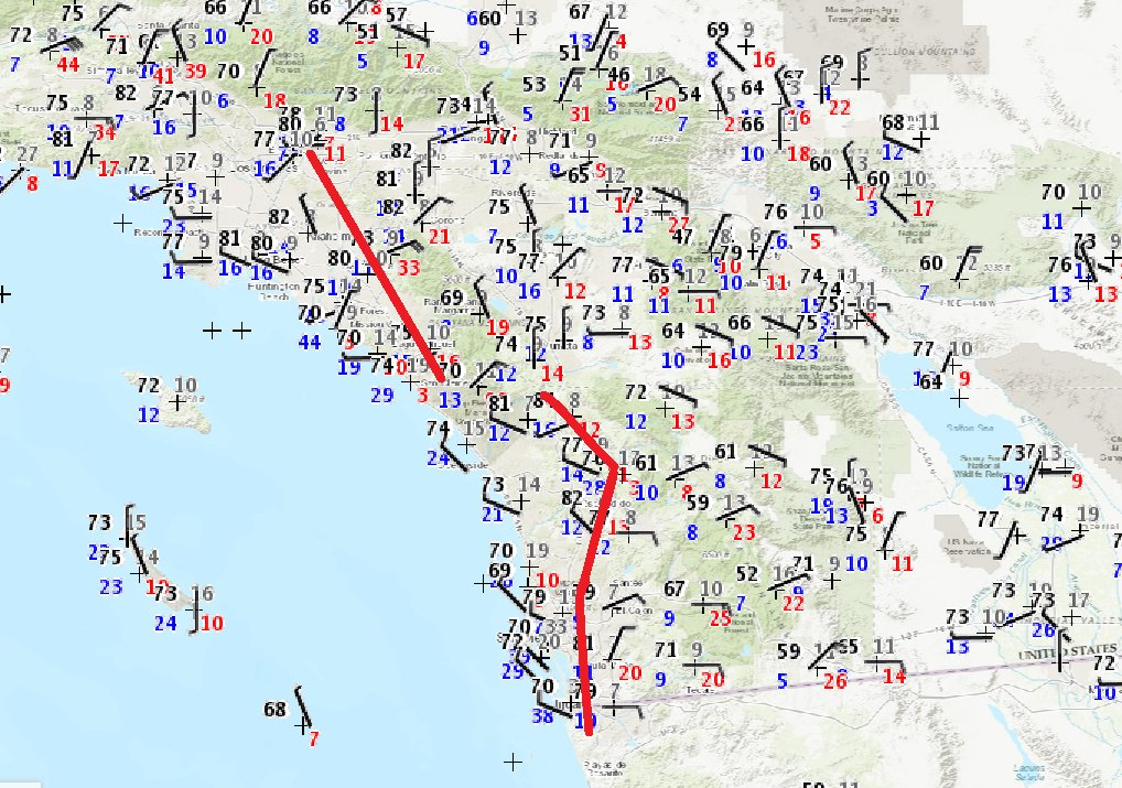 lighter #SantaAnaWinds and sea breeze (onshore wind) moving into coastal areas with slightly higher humidity #cawx