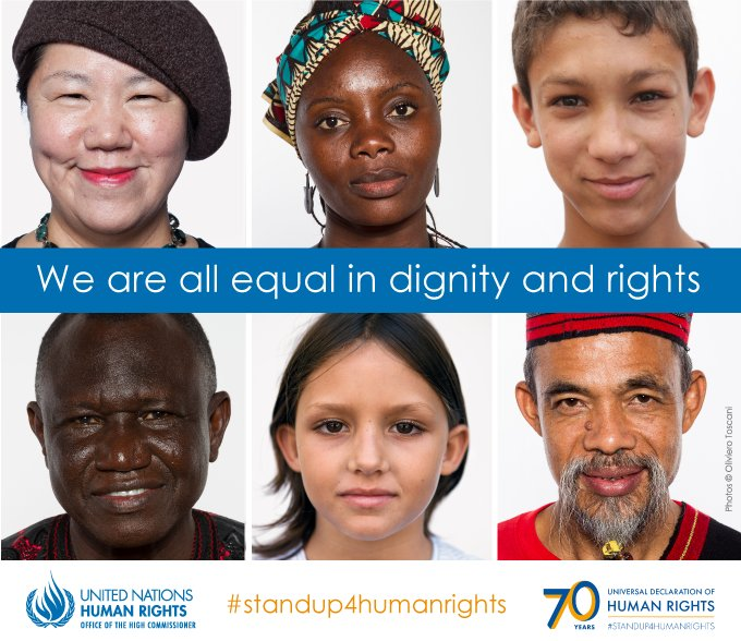 The Universal Declaration of Human Rights establishes the equal dignity & worth of every person.  on #StandUp4HumanRightsSunday's  & e#HumanRightsDayvery day https://t.co/TAEtoOGwWl