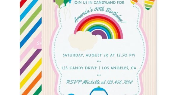 toddie time on twitter rainbow candy birthday party invitation