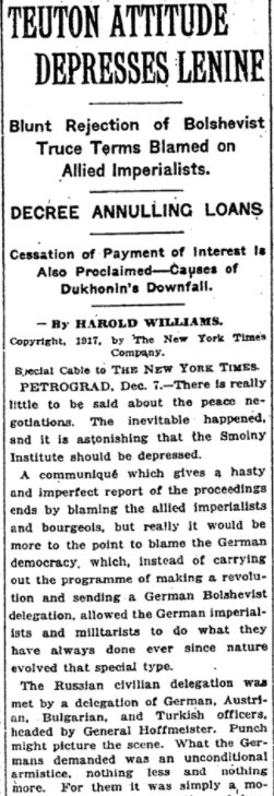 Dec 8, 1917 - New York Times: Germany's rejection of Bolshevik peace terms depresses Lenin #100yearsago