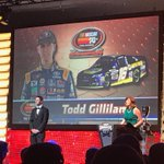 Two-time @NASCAR K&N Pro Series West Champ @ToddGilliland_ is being presented his ring at tonight's award banquet.