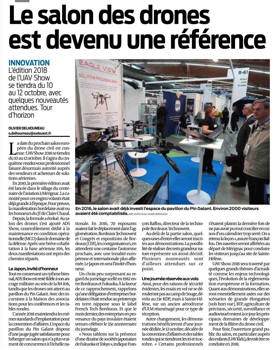 📆La 5ème édition d'@uav_show se tiendra les 10-11/10/2018 à #Bordeaux @merignac et les démonstrations en vol le 12/10 à Sainte-Hélène (LF3327) ✈️ Rendez-vous incontournable du #drone civil professionnel organisé par @CEBevt et @Bdx_Technowest #UAVSHOW2018 🚀