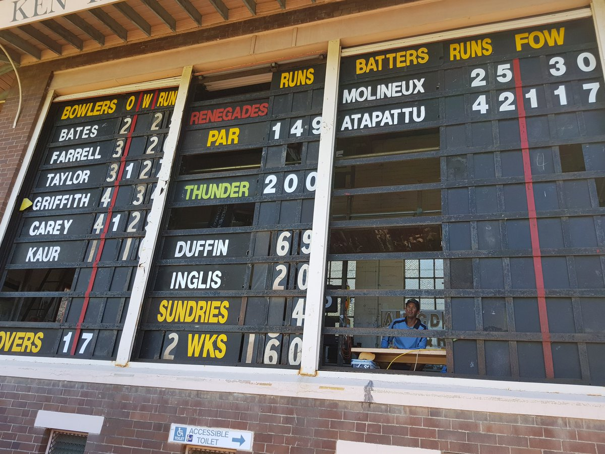 #WBBL03 Grandstand finish coming up. Ren...