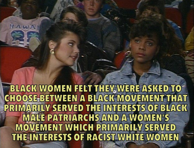 This is what black feminism and #intersectionality is about. Picture courtesy - saved by the bell hooks <br>http://pic.twitter.com/ePEksQo3Ya