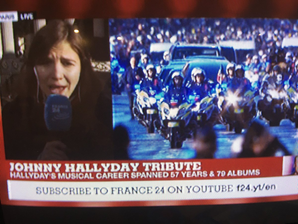 Wow. Johnny Hallyday's funeral is in the Marley / Senna / Princess Di league. Maybe a million on the Champs-Élysées, 700 Harley Davidsons escorting the hearse.