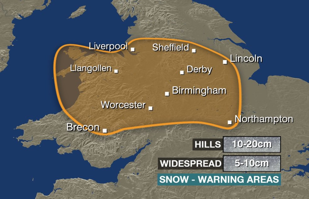 Area covered by a Met Office AMBER weather warning indicates the area most likely *at the moment* to see disruption from heavy snow on Sunday https://t.co/RxXh5VTXAL