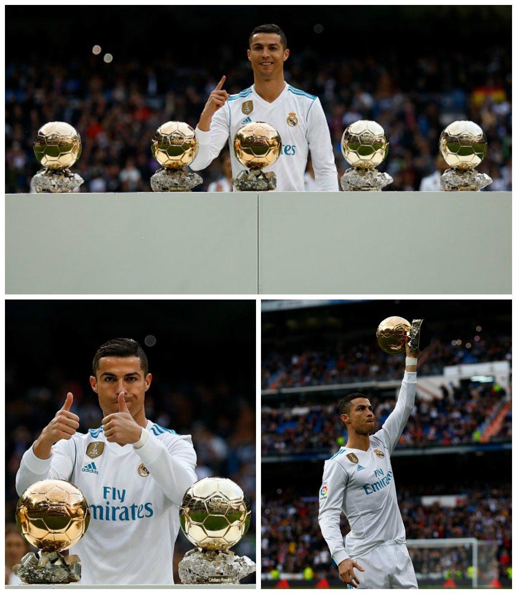 1⃣...2⃣...3⃣...4⃣...5⃣... ⚽-⚽-⚽-⚽-⚽  @Cristiano #Ronaldo festeggia al Bérnabeu 🎉🎊👏  #BallondOr