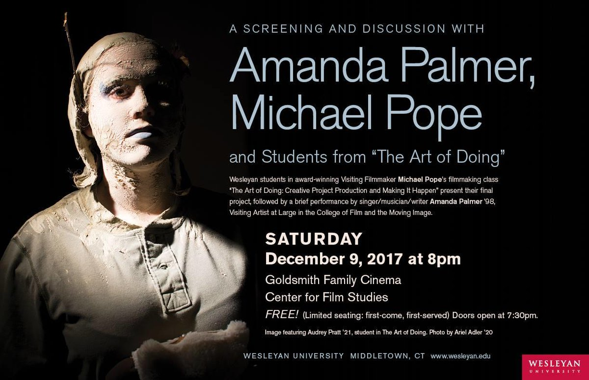"""test Twitter Media - Tonight @ 8pm: A Screening and Discussion with @amandapalmer'98, @popecinema, and students from """"The Art of Doing"""" class. Goldsmith Family Cinema. Limited seating! https://t.co/mJnI4gxbNn https://t.co/sjSNLR7THs"""