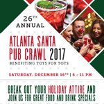 The 26th Annual Atlanta Santa Pub Crawl comes to its new location at @livebatteryatl ​! On December 16, come out for food & drink specials to benefit Toys For Tots. #HolidaysInCobb https://t.co/CgKd3QFZzv